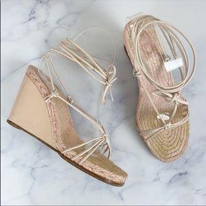 Hermès lace up espadrille wedges size 7